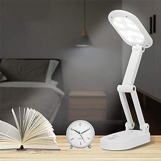 LED デスクライト 卓上ライト 電気スタンド USB充電式 スタンドライト ブックライト 3段調色 無段階調光 折りたたみライト タッチセンサー式 PC作業・仕事・寝室・卓上・読書ランプ・勉強・旅行・防災・非常灯 収納&携帯が便利 自然光 目に優しい (3段調色+無段階調光+白)
