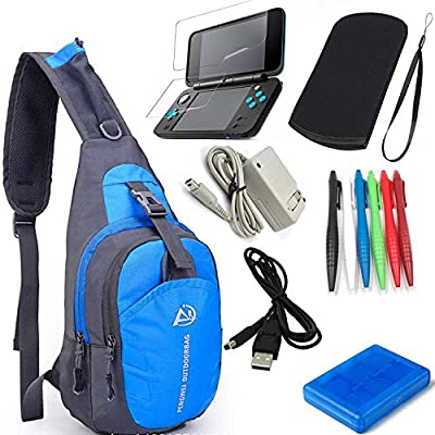 YB-OSANA 7 in 1 Backpack Crossbody Bag + New 2DS XL Wall Charger+ New 2DS XL Protective Bag+ Game Card Holder Case+New 2DS XL Stylus Pen+ USB Cable+Screen Protector Travel Kit for Nintendo New 2DS XL
