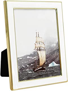 Afuly Metal Picture Frame 4x6 Elegant White Photo Frame with Modern Shiny Brushed Gold Edge Display for Desk Table Wall Mounting