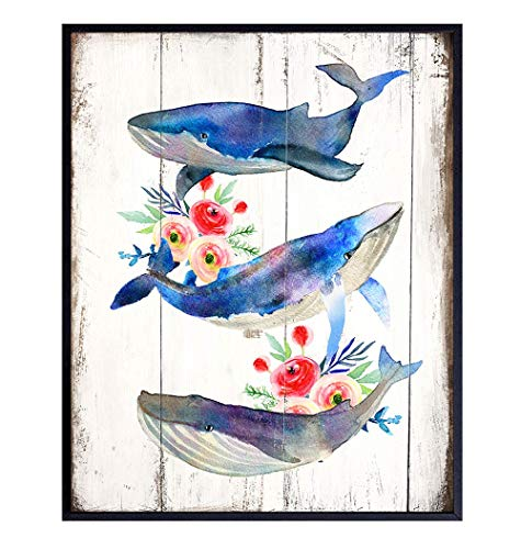 Whales Nautical Wall Art Print - 8x10 Photo Picture Beach Home Decor - Rustic, Shabby Chic, Farmhouse, Cottage Style Gift for Ocean, Sea Lovers - Unframed Bedroom, Bathroom Living Room Decoration