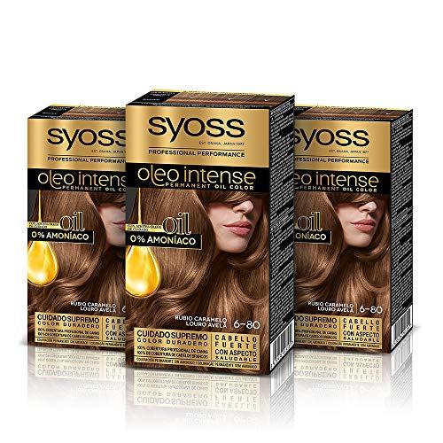 Syoss Oleo Intense - Tono 6-80 Rubio Caramelo (Pack De 3) – Coloración permanente sin amoníaco – Resultados de peluquería – Cobertura profesional de canas
