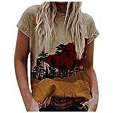 iHENGH Blouse Femme T-Shirt Manches Top Coat Courtes LâChe Impression De Sexy Mode FéMinine Jaune XL