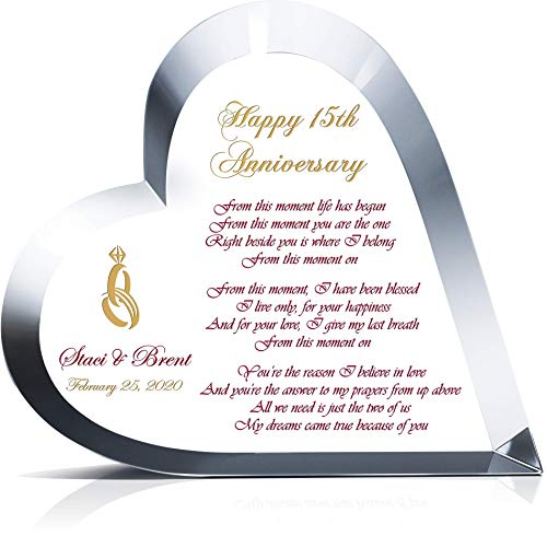 """Personalized Heart Shape Crystal Gift for 15th Wedding Anniversary for Him or for Her, Customized with Love Poem, Couple Name, Unique Gift for Wife or Husband on Your 15th Anniversary (M - 6.5"""")"""