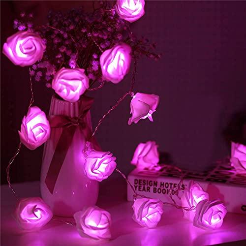 Guirnalda de luces LED de jardín de 1 m, 2 m, 3 m, guirnalda de flores artificiales de espuma, rosas para decoración de bodas del día de San Valentín (color emisor: rosa fuerte, vatio: 3 m, 20 ledes)