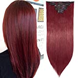 26 Pouces Extension A Clip Rajout Cheveux Synthétique 8 Pièces Extension A Clip Cheveux Pas Cher Lisse Raide Clip In Hair Extension Full Head - Marron & Rouge Foncé