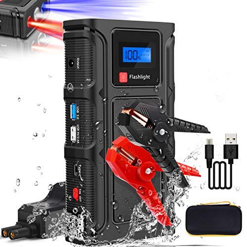 Teaisiy Starthilfe Powerbank,1000A 18000mAh Spitzenstrom Auto Starthilfe 12V Autobatterie Anlasser(Bis zu 6.5L Benzin oder 5.0L Diesel) mit USB-Schnellladung 3.0 und LED Taschenlampe, Notfallhammer