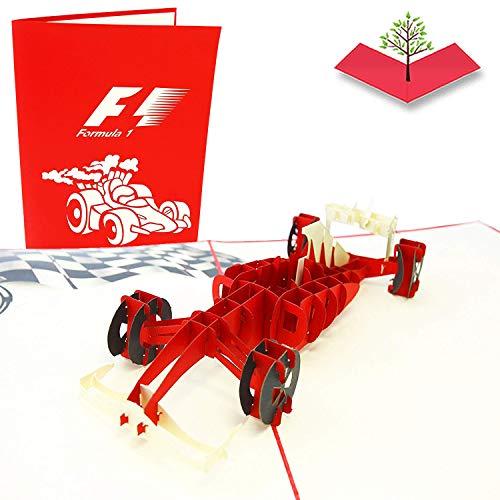 PopLife Cards Tarjeta emergente del día de padres del coche de Fórmula 1 para todas las ocasiones el día del padre, feliz cumpleaños, retiro, aniversario del trabajo, conductores del coche de la raza