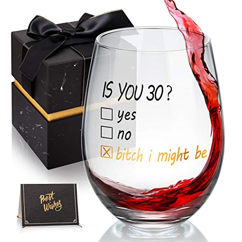 30th Birthday Gifts for Women and Men, Is You 30 Gift Idea for Mom Dad Husband Wife Funny Gifts for Wife, Husband, Friends, 30th birthday decorations for her -18 oz Stemless Wine Glass