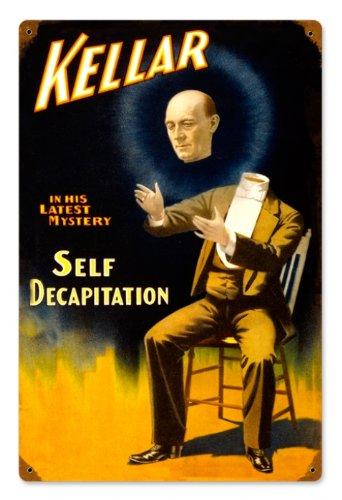 Past Time Signs Placa de metal vintage V977 Keller Self Decapitation Humor