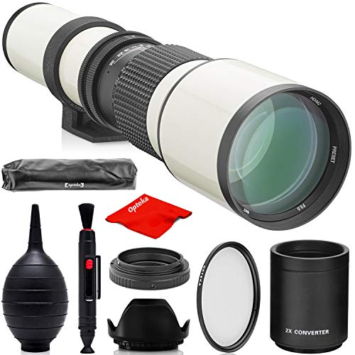 Opteka 500mm/1000mm f/8 Manual Telephoto Lens for Canon EF EOS 90D, 80D, 77D, 70D, 60D, 60Da, 1Ds, Mark III II 7D, 6D, 5D, 5DS, Rebel T8i, T7i, T7s, T7, T6s, T6i, T6, T5i, T5, T4i, SL3, SL2 (White)