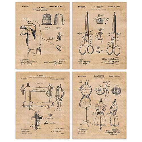 Vintage Sewing Patent Poster Prints, Set of 4 (8x10) Unframed Photos, Wall Art Decor Gifts Under 20 for Home, Office, Studio, Salon, School, College Student, Teacher, Designer, Arts & Fashion Fan