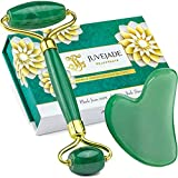 JUVEJADE 100% Natural - Jade Roller & Gua Sha Massage Tool Set   Anti Aging Face Massager   Rejuvenate Skin, Neck, Remove Wrinkles, Eye Puffiness, Facial Therapy, Slimming   Real Himalayan Stone