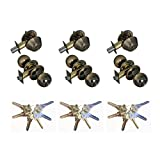 Grip Tight Tools ED04C-3, Set of 3 (Antique Brass) Combo Entry Lock Set Door Knob and Single Cylinder Deadbolt Alike: SC1 Keyway with 18 Keys Included
