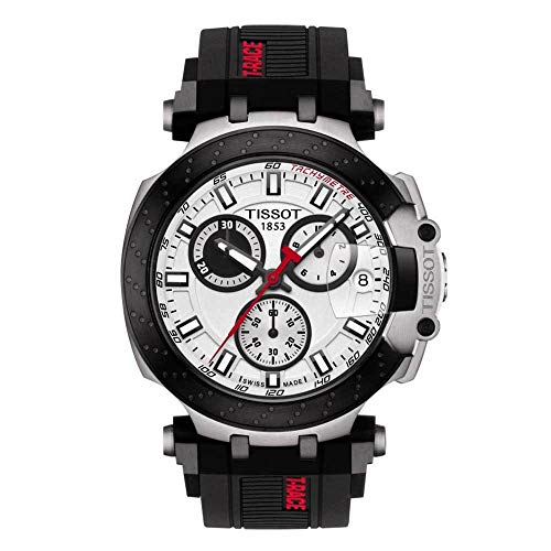 Tissot mens T-Race Chrono Quartz Stainless Steel Casual Watch Black T1154172701100