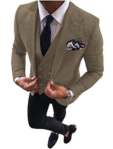 Pre-Suit - Conjunto de 3 Piezas para Hombre de Corte Ajustado, Bufanda, para pasear por el Grifo, para Bodas (Blazer + Chaleco + pantalón) marrón 44