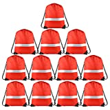 KUUQA 12 Pack Drawstring Backpack Bag with Reflective Strip, String Backpack Bulk Cinch Sack Tote Bags for Yoga Sport Gym Traveling (Red) by