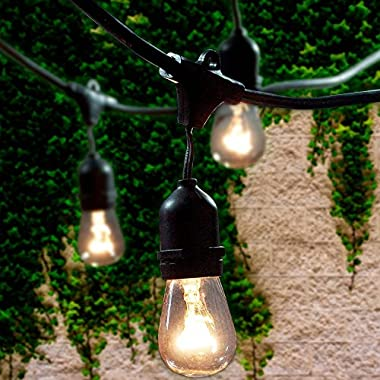 Lemontec Commercial Grade Outdoor String Lights with 15 Hanging Sockets - 48 Ft Black Weatherproof Cord Weatherproof Strand for Patio Garden Porch Backyard Party Deck Yard – S14 Black