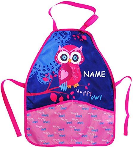 alles-meine.de GmbH Kinderschürze -  lustige Eule auf dem Baum  - incl. Name - größenverstellbar & mit 2 Taschen - Schürze / beschichtet & wasserdicht - für Jungen & Mädchen - ..