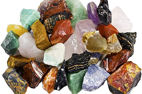"""3 lbs of a Bulk Rough SOUTH AMERICAN Stone Mix - A Beautiful Stone Mix - Large 1"""" Natural Raw Stones & Fountain Rocks for Tumbling, Cabbing, Polishing, Wire Wrapping, Wicca & Reiki Crystal Healing"""