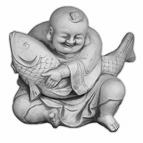 gartendekoparadies.de Großer massiver lustiger Buddha Mönch mit Koi aus Steinguss frostfest (Grau)