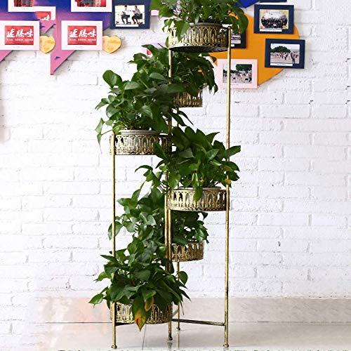 CXLT Eisen Pflanzengestell Blumentopf Steht Metall Haus Garten Dekor Display Regal Bonsai Halter Mehrschichtige Wohnzimmer Indoor Kreative Blumentopf Regale,Gold-126 * 25CM