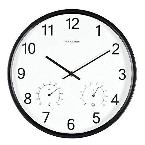 Denise Lamb FigtingEagle 12 Zoll Einfache Moderne mit Thermometer Hygrometer Sweep Stille runden Wohnzimmer Schlafzimmer Büro Quarzuhren und Uhren, 12 inches