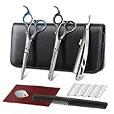 ELEHOT Hair Scissors Professional Barber Cutting Scissors Kit Stainless Steel Scissors/Shears 6 inch (17cm) with Black Storage Case (large)