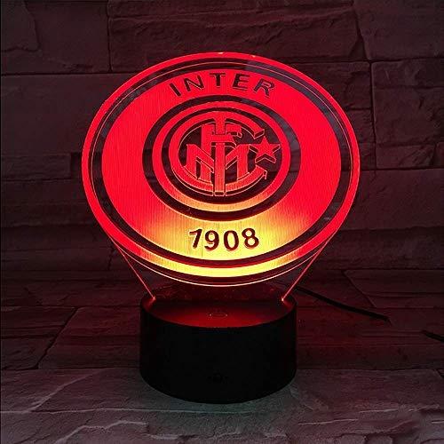 Football Club Fc Internazionale Milano Inter Led Night Light Usb 3D Illusion Serie A Calcio Logo Lampada Da Comodino Da Tavolo Per Bambini