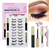 SKONHED 2021 Upgraded Magnetic Eyelashes and Eyeliner Kit,10 Pairs Reusable Magnetic Eyelashes with 3 Tubes Magnetic Eyeliner,Handmade Glue-free lashes Tweezer & Makeup Remover Included (STYLE 03)