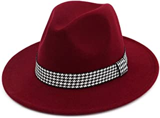 PengCheng Pang Classical Men Women Wool Fedora Hat with Cloth Belt Wide Brim Hat Pop Church Hat Size 56-58CM (Color : Wine red, Size : 56-58)