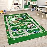 Paco Home Alfombra para Habitación Infantil Juegos Bebé Alfombras Infantiles Carreteras, tamaño:80x150 cm, Color:Verde