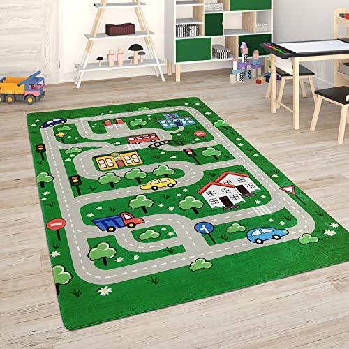 Paco Home Kinderteppich Teppich Kinderzimmer Spielmatte Straßenteppich Spielteppich, Grösse:155x230 cm, Farbe:Grün