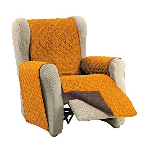 Cardenal Textil Funda Cubre Sofá Dual Cover, Marrón/Naranja, 1 Plaza - Relax