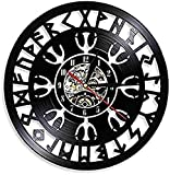 BBNNN Reloj de Pared de Vinilo, Reloj de Pared nórdico, brújula vikinga, Reloj Retro Negro, Silencio 12