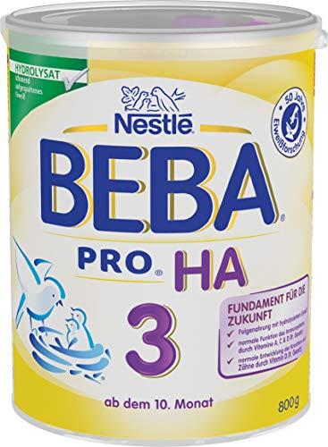 Nestlé BEBA PRO HA 3 Folgenahrung ab dem 10. Monat Pulver (mit hydrolysiertem Eiweiß, enthält Vitamin A, C & D) 1er Pack (1 x 800g)