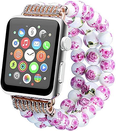 Suneven Ersatzarmband für Apple Watch, 40 mm, 38 mm, 44 mm, 42 mm, verstellbar, handgefertigt, elastisches Armband, Perlen im chinesischen Pastoral-Stil, Armband für Apple Watch Serie 5/4/3/2/1 M rose