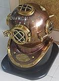 NauticalMart Diving Divers Helmet Copper Antique Us Navy Mark V Helmet Solid Brass with Base
