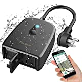 Outdoor Smart Plug TONBUX 2.4G WiFi Outlet with 2 Sockets Compatible with Alexa...