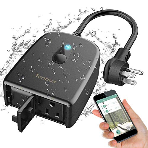 Outdoor Smart Plug TONBUX 2.4G WiFi Outlet with 2 Sockets Compatible with Alexa Google Home IP44 Waterproof Wireless Remote Control Switches with Schedule & Timer Controlled by Smartphone