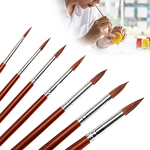 6pcs Round Point Tip Paint Brush Set, Sable Hair Artists Art Painting Brush, Sable Watercolor Brushes, Detail Paint Brushes, Watercolor Paint Brushes for Acrylic Painting Oil Painting