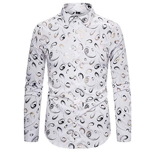 Camisa para hombre de primavera Slim Wild Suit Camisa estampada elástica para hombre