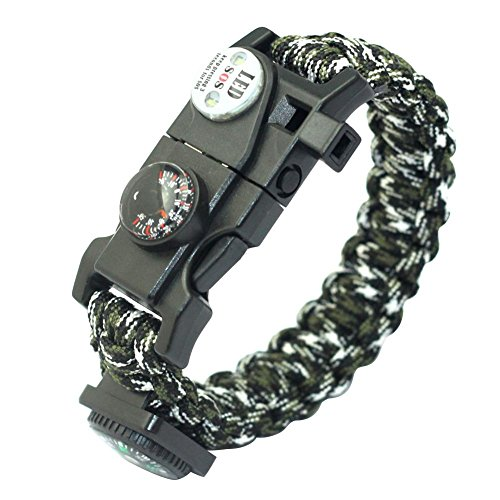 Foru-1 Outdoor Multifunktions Paracord Survival Armband mit Kompass Thermometer, 3 Camouflage
