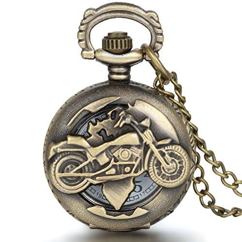 JewelryWe - Reloj de bolsillo, redondo, cuarzo, fantasía, diseño de moto, aleación, de color cobre, unisex, con bolsa regalo