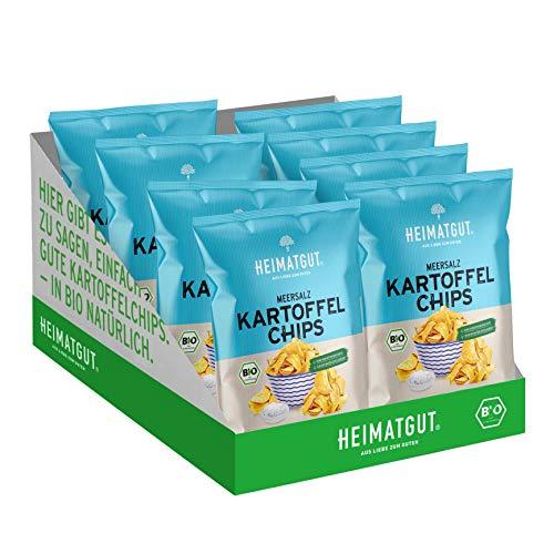 Heimatgut BIO Kartoffelchips Meersalz, Vegan & Glutenfrei, ohne Zusätze, 8 x 125g Vorteilspack