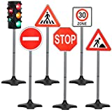 Kiddie Play Traffic Light Toys for Kids with 5 Street Signs