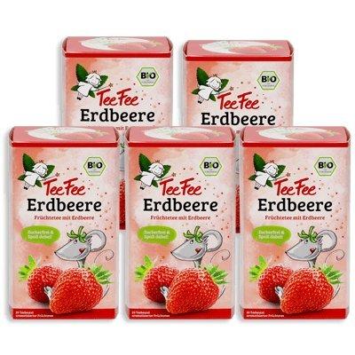 TeeFee Bio Früchtetee mit Erdbeere, 5er Pack (5x20 Teebeutel)   Kindertee   natursüß und vegan   Der Bio Tee für Groß und Klein