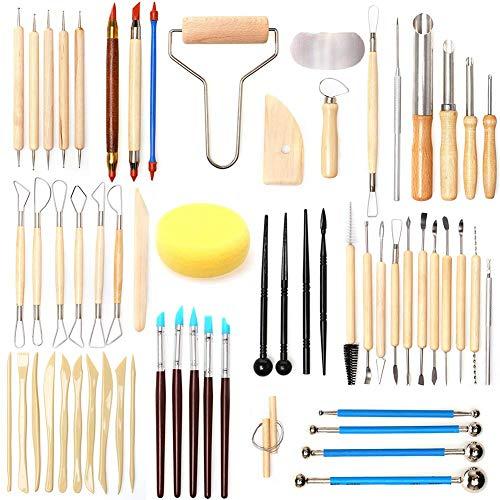 Casinlog - Juego de herramientas de arcilla, 61 piezas, de arcilla de polímero, cerámica, herramientas de madera, cerámica, escultura, arcilla, herramienta de limpieza