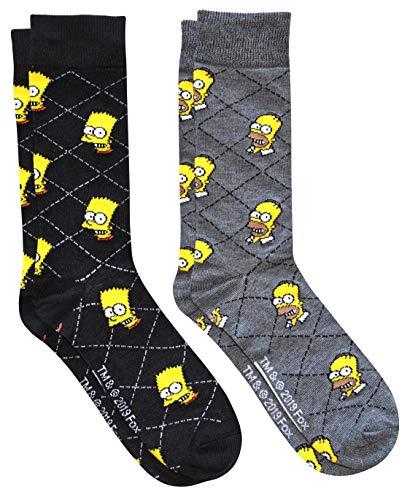 Hyp The Simpsons Homer and Bart Argyle Men's Crew Socks 2 Pair Pack