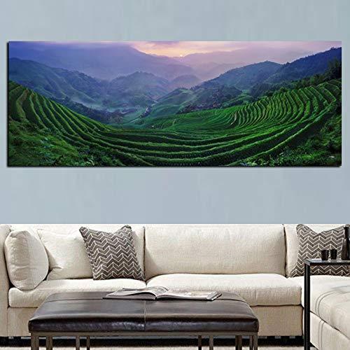 wZUN Escena de terrazas con impresión HD impresión en HD sobre Lienzo Paisaje montaña Pintura al óleo Sala de Estar sofá decoración Arte de Pared póster 60x150 Sin Marco