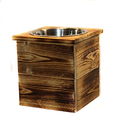 Elevated Large Single Bowl Pet Feeder From Reclaimed Pallet Wood